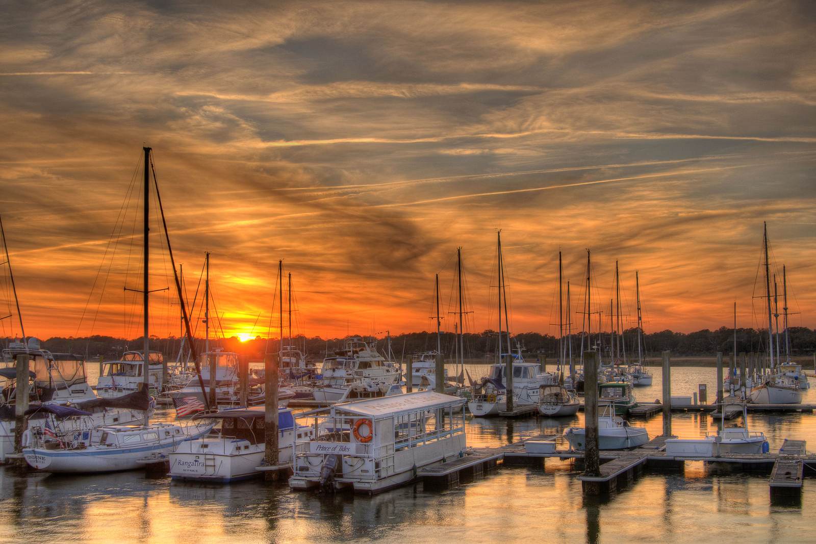 Sunset at the marina along the Henry C. Chambers Waterfront Park in Beaufort, SC on Friday, February 20, 2015. Copyright 2015 Jason Barnette