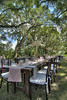 A beautiful setup for a wedding by Cafe Catering under the canopy of oak trees in front of the Legare-Waring House at Charles Towne Landing State Historic Park in Charleston, SC on Saturday, September 7, 2013. Copyright 2013 Jason Barnette