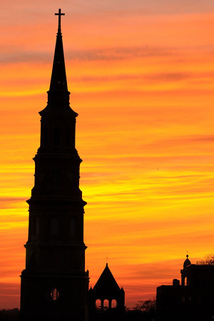 Silhouetted sunset view of the St. Phillip's Episcopal Church in downtown  Charleston, SC on Friday, February 27, 2015. Copyright 2015 Jason Barnette