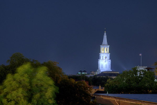 The steeple of St. Michael's Church glows in the night sky in downtown Charleston, SC on Tuesday, July 8, 2014. Copyright 2014 Jason Barnette