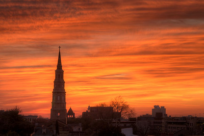 A warm winter sunset viewed from the top of a parking garage in downtown Charleston, SC on Friday, February 27, 2015. Copyright 2015 Jason Barnette