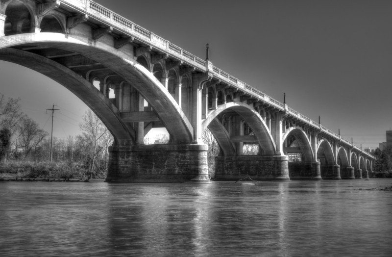 Straightened, Gervais Street Bridge in Columbia, SC, 3 exposures, processed with Photomatix and Adobe Photoshop Elements