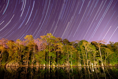 Star trails over the Waccamaw River from the Mayor Gregory K. Martin Riverfront Park in Conway, SC on Tuesday, March 27, 2012. Copyright 2012 Jason Barnette  SPECIAL DONATION TO THE INTERNATIONAL DARK-SKY ASSOCIATION: I will donate 20% of all print sales of this photo to the International Dark-Sky Association to help with their fight to preserve the night!