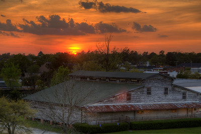 A warm sunset over the small downtown area in Conway, SC on Wednesday, April 8, 2015. Copyright 2015 Jason Barnette