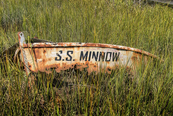 A broken, rusted piece of a boat sunken the marshes in Edisto Beach, SC on Friday, August 29, 2014. Copyright 2014 Jason Barnette
