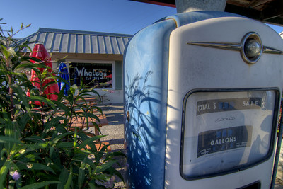 One of the signature gas pumps inside the gas station-turned-restaurant Whaley's Store, a locally owned restaurant located in a former gas station building, in Edisto Beach, SC on Friday, August 29, 2014. Copyright 2014 Jason Barnette