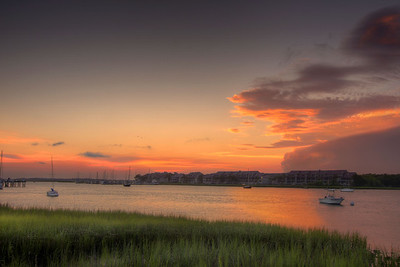 A stormy sunset looking across the Intracoastal Waterway in Folly Beach, SC on Monday, July 7, 2014. Copyright 2014 Jason Barnette