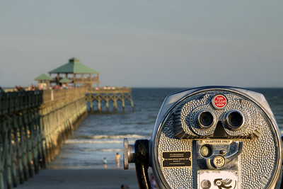 A view along the lengthy Edwin S. Taylor Fishing Pier in Folly Beach, SC on Monday, July 7, 2014. Copyright 2014 Jason Barnette
