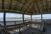 A covered observation deck at the end of the Edwin S. Taylor Fishing Pier in Folly Beach, SC on Sunday, September 8, 2013. Copyright 2013 Jason Barnette