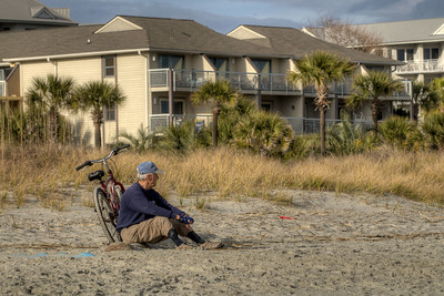 A man enjoys the view on the beach in Hilton Head Island, SC on Sunday, February 22, 2015. Copyright 2015 Jason Barnette