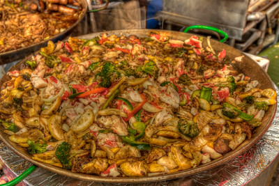 Large platters of various foods were available at the 31st Annual Blue Crab Festival on the historic waterfront in Little River, SC on Sunday, May 20, 2012. Copyright 2012 Jason Barnette