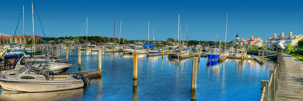 Panorama of the marina and lighthouse near Lightkeepers Village in Little River, SC on Friday, April 20, 2012. Copyright 2012 Jason Barnette