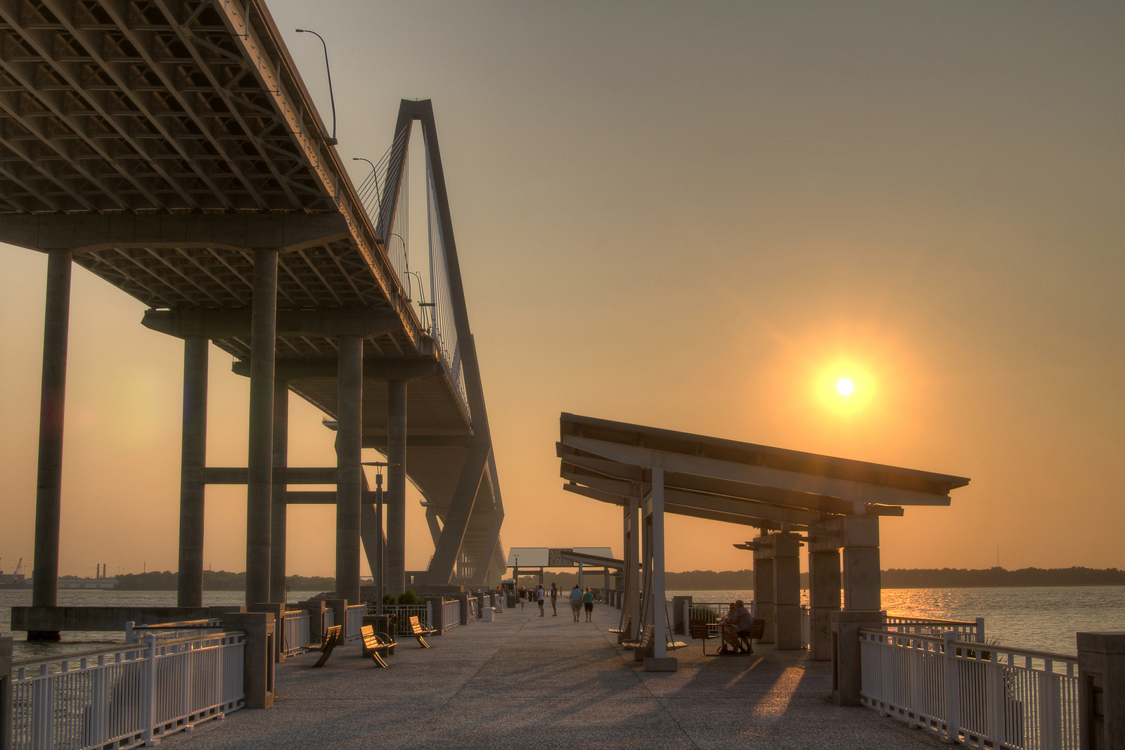 Gorgeous sunset view from the Fishing Pier, tucked away beneath the Arthur Ravenel, Jr. Bridge, at the Visitor Center in Mt. Pleasant, SC on Tuesday, July 8, 2014. Copyright 2014 Jason Barnette