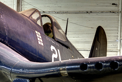Close up view of an F4U Corsair on the Hangar Deck on the USS Yorktown CV-10 at the Patriots Point Naval Maritime Museum in Mt. Pleasant, SC on Saturday, February 28, 2015. Copyright 2015 Jason Barnette  Patriots Point is a popular tourist attraction located along the Cooper River. The site serves as the home of the USS Yorktown aircraft carrier, USS Clamagore submarine, and USS Laffey destroyer. The museum also features a gift shop, the Vietnam War Experience, and boat tours to Fort Sumter.