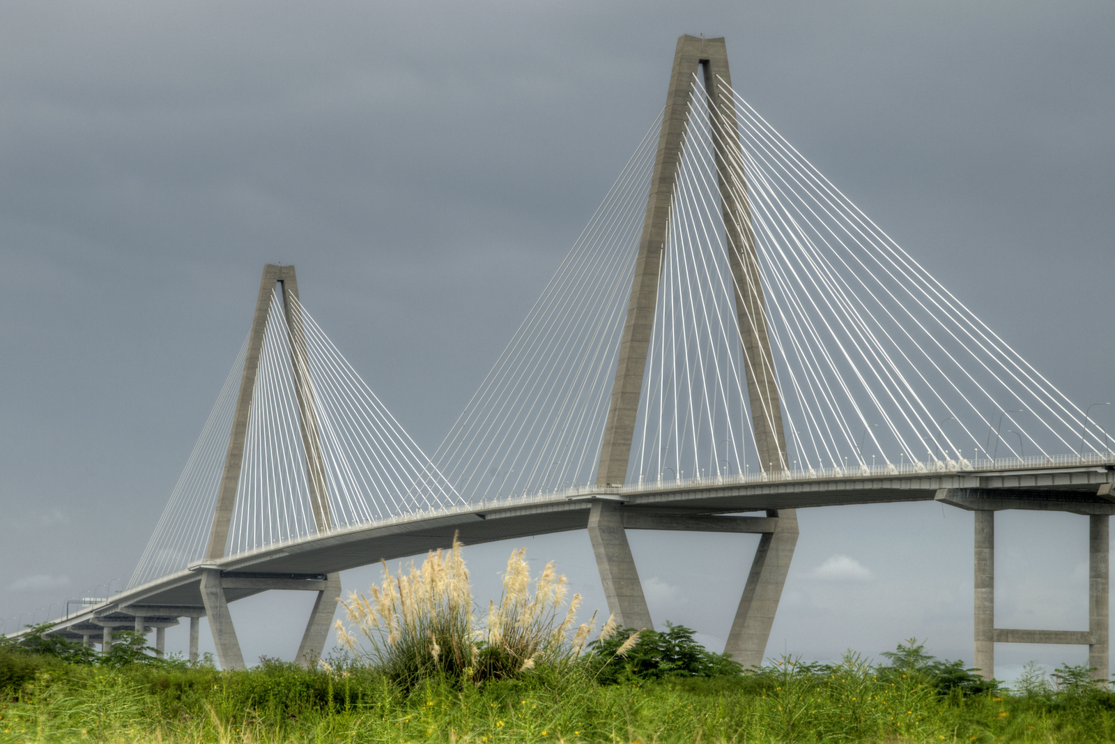 The Arthur Ravenel, Jr. Bridge stands out against an overcast sky in Mt. Pleasant, SC on Tuesday, September 2, 2014. Copyright 2014 Jason Barnette
