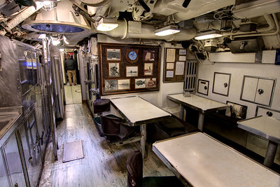 The Mess Hall and Kitchen on the USS Clamagore SS-343 at the Patriots Point Naval Maritime Museum in Mt. Pleasant, SC on Saturday, February 28, 2015. Copyright 2015 Jason Barnette  Patriots Point is a popular tourist attraction located along the Cooper River. The site serves as the home of the USS Yorktown aircraft carrier, USS Clamagore submarine, and USS Laffey destroyer. The museum also features a gift shop, the Vietnam War Experience, and boat tours to Fort Sumter.