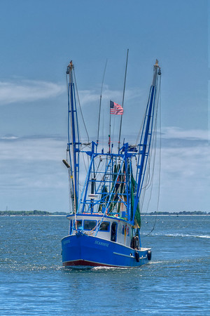 The Seahorse fish boat returns at the Shem Creek Boardwalk in Mount Pleasant, SC on Friday, May 27, 2016. Copyright 2016 Jason Barnette
