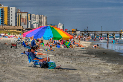 People crowd the beach on a beautiful day at Myrtle Beach State Park in Myrtle Beach, SC on Saturday, April 14, 2012. Copyright 2012 Jason Barnette