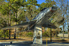 An F-100D Super Sabre sits atop a concrete pillar on display in Warbird Park, a memorial park dedicated to the former Air Force base, near The Market Common in Myrtle Beach, SC on Thursday, February 21, 2013. Copyright 2013 Jason Barnette