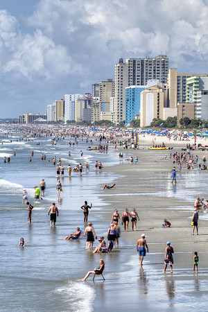 People crowd the beach for the Labor Day Weekend near Second Avenue Pier in Myrtle Beach, SC on Saturday, August 31, 2013. Copyright 2013 Jason Barnette