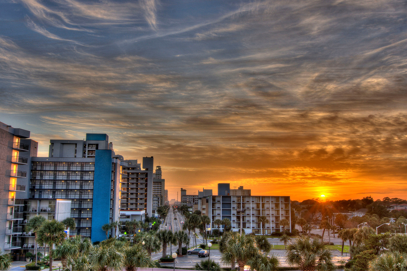 A warm sunset along Ocean Blvd. in Myrtle Beach, SC on Tuesday, January 8, 2013. Copyright 2013 Jason Barnette