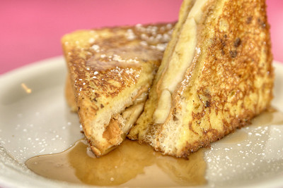 The Elvis French Toast, made with Texas toast, bananas, and powdered sugar, at Lulu's Cafe in Myrtle Beach, SC on Thursday, September 5, 2013. Copyright 2013 Jason Barnette