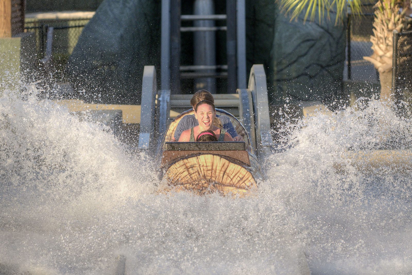 People take a splash in the water on the Log Flume at the Family Kingdom Amusement Park in Myrtle Beach, SC on Saturday, August 31, 2013. Copyright 2013 Jason Barnette