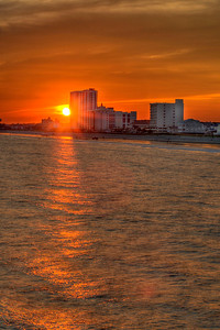 The sun sets over North Myrtle Beach, SC on Friday, October 5, 2012. Copyright 2012 Jason Barnette