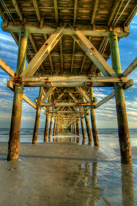 Low tide under the Cherry Grove Fishing Pier in North Myrtle Beach, SC on Friday, October 5, 2012. Copyright 2012 Jason Barnette