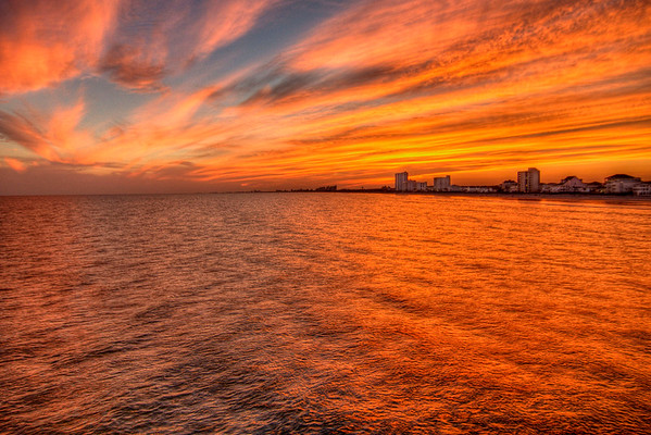 The sky lights up with brilliant colors just after sunset in North Myrtle Beach, SC on Friday, October 5, 2012. Copyright 2012 Jason Barnette