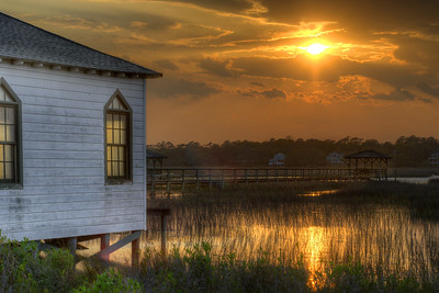 Sunset at an old church on Pawleys Island, SC on Monday, April 2, 2012. Copyright 2012 Jason Barnette