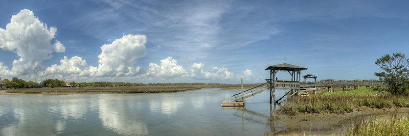 Calm waters at a boat dock on Pawleys Island, SC on Friday, March 23, 2012. Copyright 2012 Jason Barnette