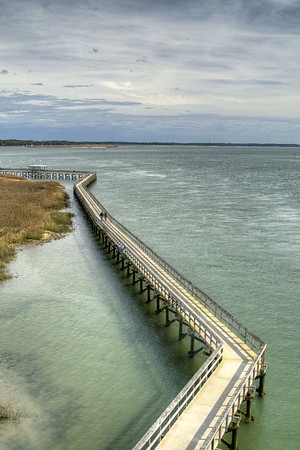 The long and winding Henry Robinson Boardwalk at the Sands Beach in Port Royal, SC on Saturday, February 21, 2015. Copyright 2015 Jason Barnette