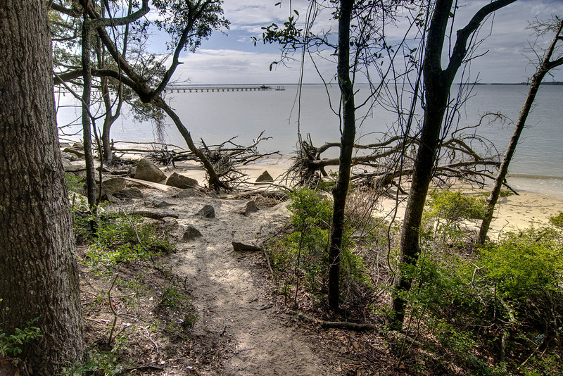 The beach access at Fort Fremont Historical Park in Saint Helena Island, SC on Sunday, February 22, 2015. Copyright 2015 Jason Barnette  Fort Fremont consists of several concrete artillery batteries built 1898 in response to the Spanish-American War. The fort was intended to defend local Naval Station Port Royal from invading ships during the war. The fort was deactivated in 1921. Over the next eight decades the property switched hands between several private owners until 2004 when the Trust for Public Land and Beaufort County Council bought the property.   Today the property is open to the public to explore the ruins of the concrete batteries. The area is only lightly maintained, and visitors enter at their own risk. However, it is a rare and thrilling place to explore.
