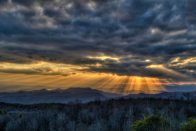 Sunset on Sassafras Mountain in Sunset, SC