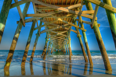 Low tide under the Surfside Beach Pier in Surfside Beach, SC on Friday, April 13, 2012. Copyright 2012 Jason Barnette