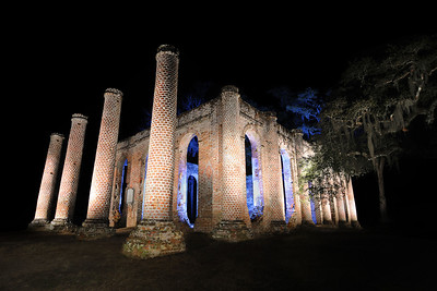 Night view of the Old Sheldon Church Ruins in Yemassee, SC on Sunday, February 22, 2015. Copyright 2015 Jason Barnette Composite Photo.  Sheldon Church, originally known as Prince William's Parish Church, was built in 1753. In 1779 British General Prevost marched from Savannah into South Carolina during the Revolutionary War and burned the church to the ground. It was rebuilt, but the church faced the fate again. In 1865 General Sherman marched from Savannah into South Carolina during the Civil War, known locally as the War Between the States, and burned the church to the ground again. It was never rebuilt.   Today the historic site is open to the public 24/7, and has become a popular destination for photographers and wedding ceremonies.