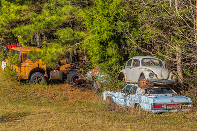 Cars in junk yard in Edgefield, South Carolina