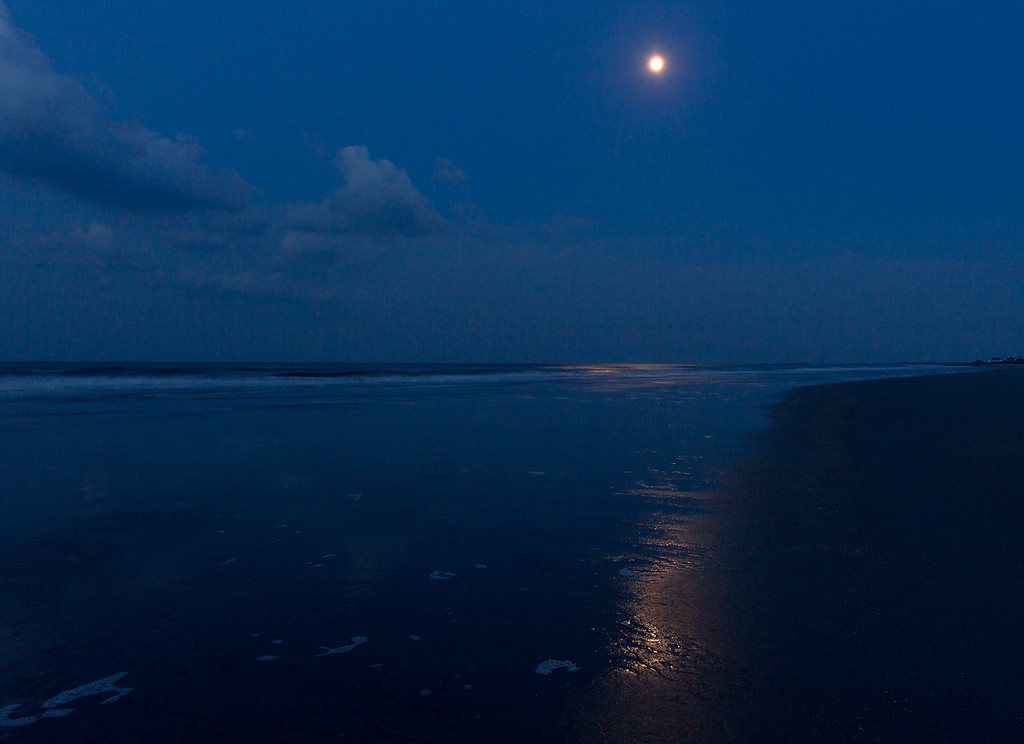 Folly Beach Moonset