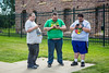 Pokemon players at the Falls of the Big Sioux River in Falls Park, Sioux Falls, South Dakota, USA.