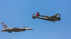 Heritage Flight  F-16 and Lockheed P-38 at the Air National Guard Airshow in Sioux Falls, South Dakota, USA.