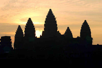The five towers of Angkor Vat at sunrise