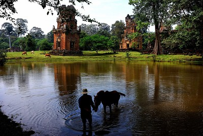 A man bathes his horse near Prsat Suor Prat - 12 identical towers opposite the Terrace of the Elephants, Angkor Cambodia
