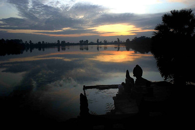The reservoir of Srah  Srang at sunrise opposite the east entrance of Banteay Kdei, Cambodia