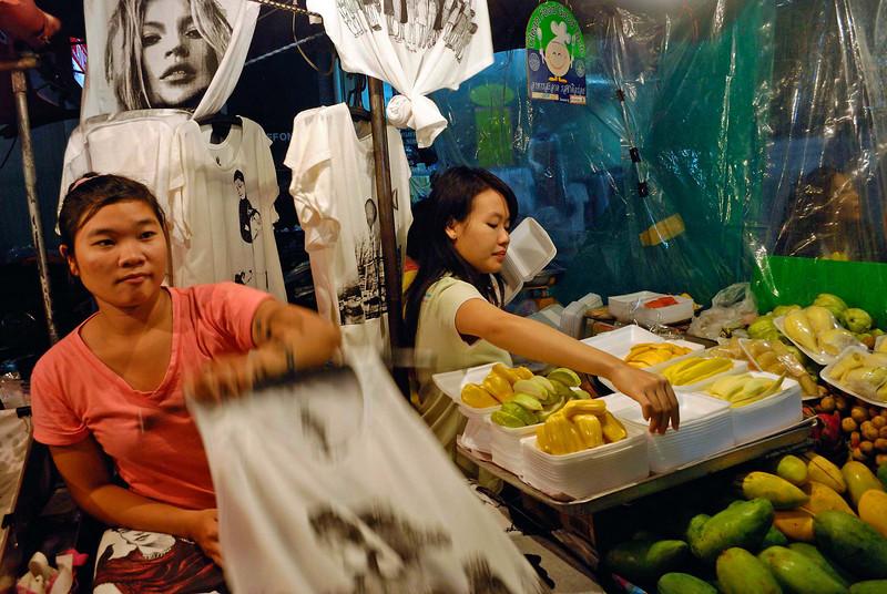 T shirts and fruits, Hua Hin night market