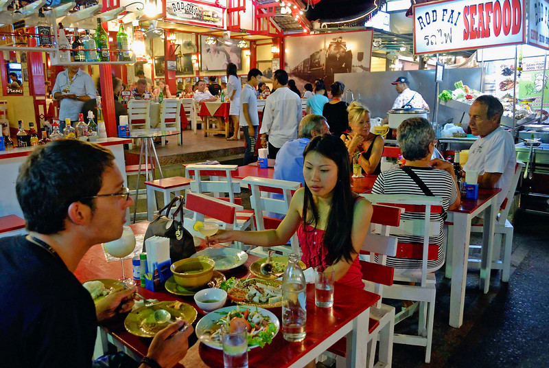 Al fresco sea food restaurant at the night market, Hua Hin