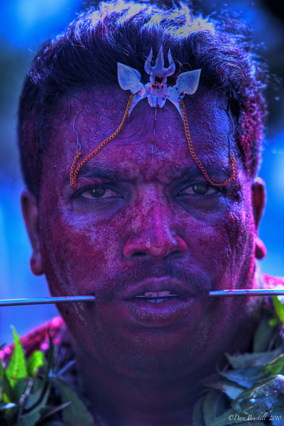 Man with large spike through cheeks at Thaipusam