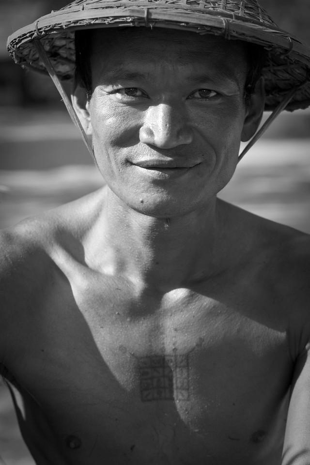 Man with chest tattoo, Mrauk U