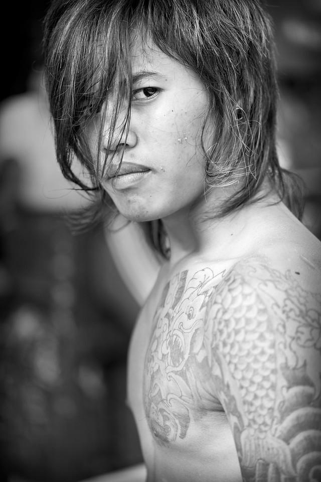 Labourer with tattoo, San Pya Zei (Fish Market), Yangon