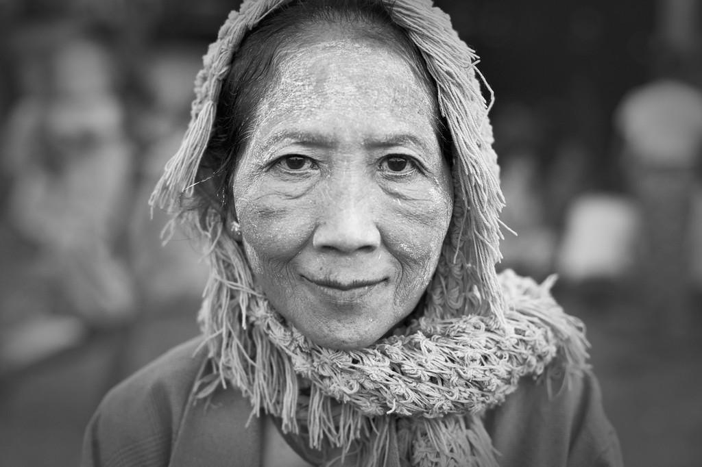Woman in shawl, Sittwe Fish Market